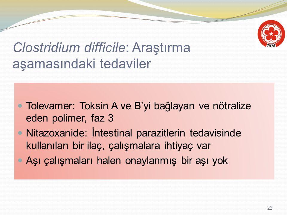 23 Clostridium difficile: Araştırma aşamasındaki tedaviler Tolevamer: Toksin A ve B'yi bağlayan ve nötralize eden polimer, faz 3 Nitazoxanide: İntesti