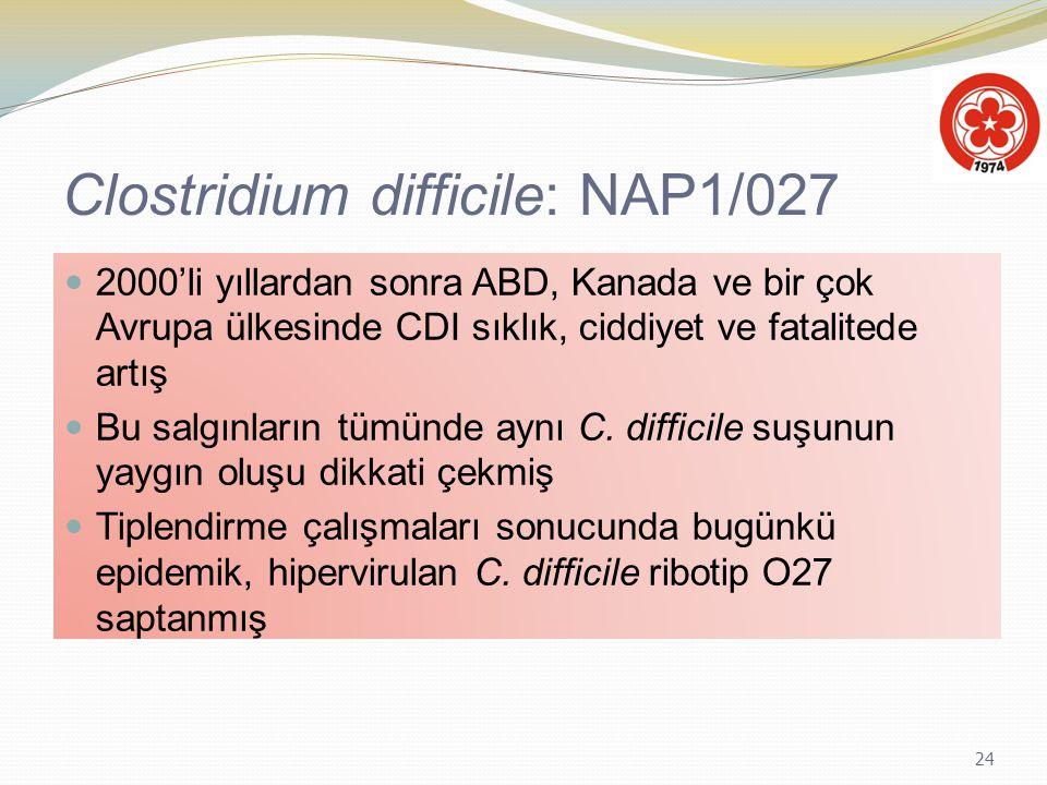 24 Clostridium difficile: NAP1/027 2000'li yıllardan sonra ABD, Kanada ve bir çok Avrupa ülkesinde CDI sıklık, ciddiyet ve fatalitede artış Bu salgınl