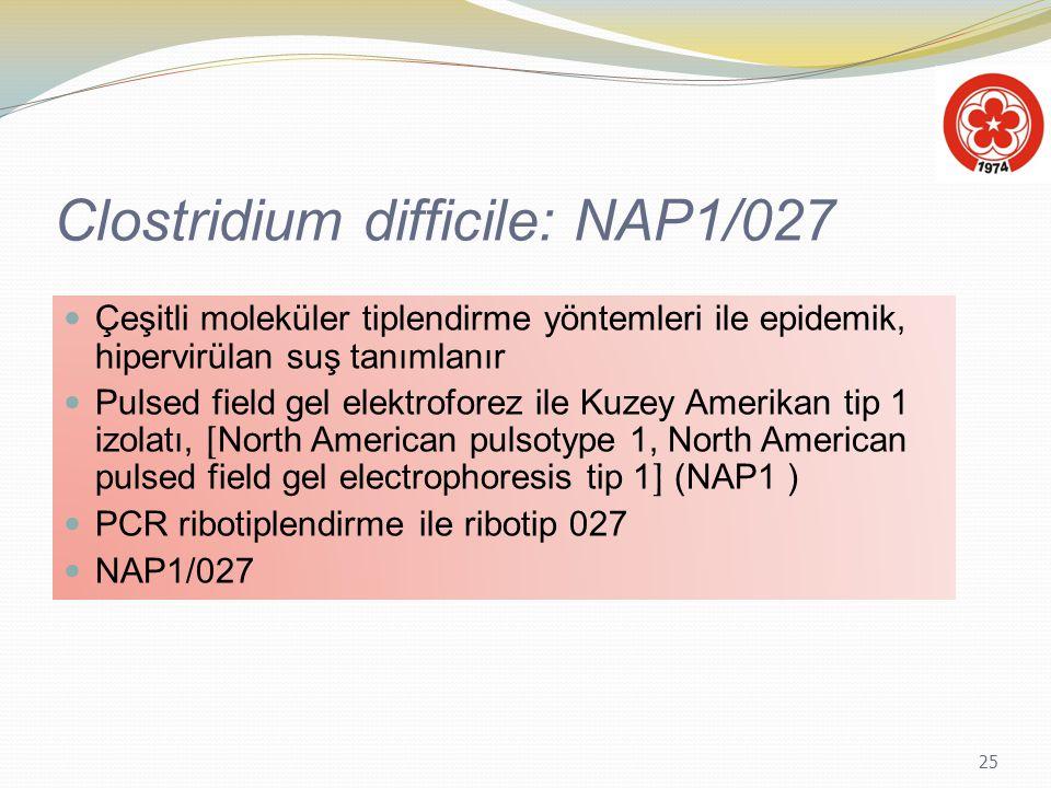 25 Clostridium difficile: NAP1/027 Çeşitli moleküler tiplendirme yöntemleri ile epidemik, hipervirülan suş tanımlanır Pulsed field gel elektroforez il