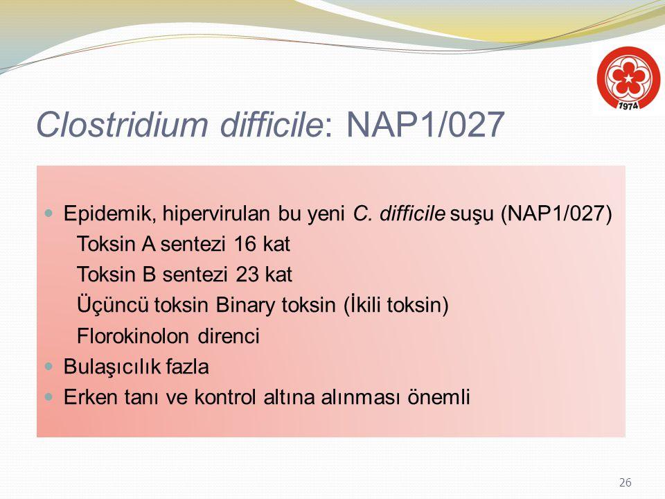 26 Clostridium difficile: NAP1/027 Epidemik, hipervirulan bu yeni C. difficile suşu (NAP1/027) Toksin A sentezi 16 kat Toksin B sentezi 23 kat Üçüncü