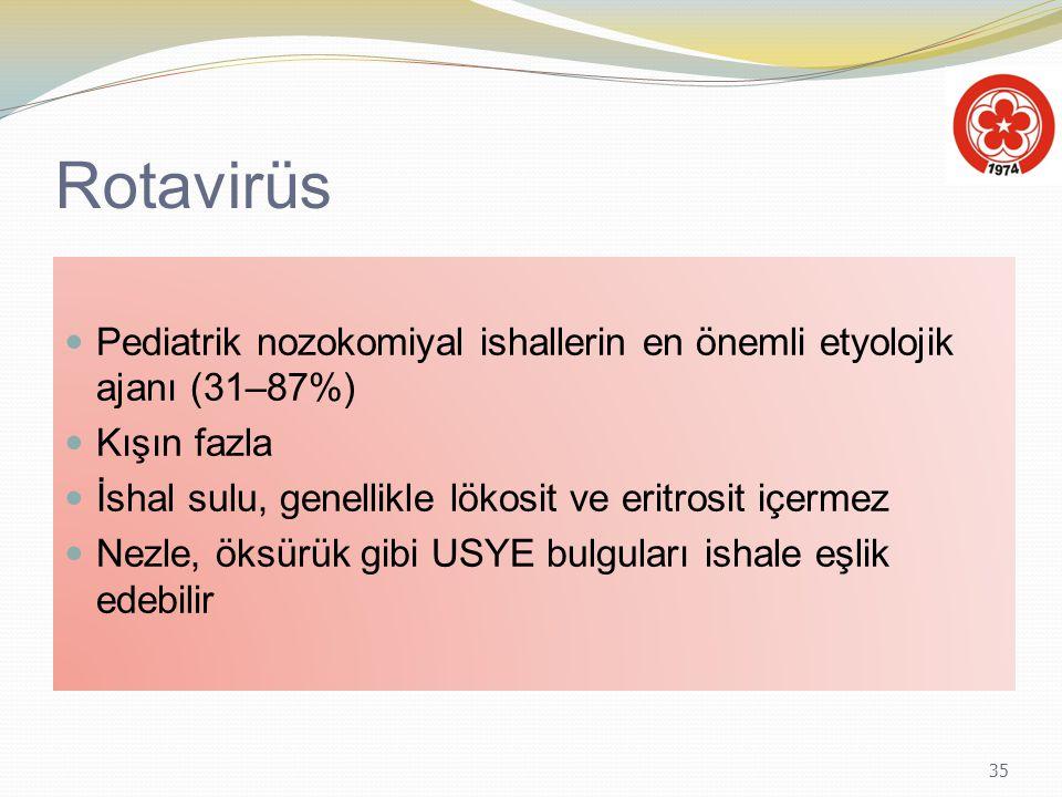 35 Rotavirüs Pediatrik nozokomiyal ishallerin en önemli etyolojik ajanı (31–87%) Kışın fazla İshal sulu, genellikle lökosit ve eritrosit içermez Nezle