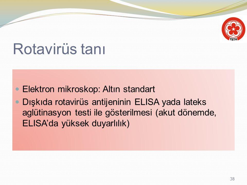 38 Rotavirüs tanı Elektron mikroskop: Altın standart Dışkıda rotavirüs antijeninin ELISA yada lateks aglütinasyon testi ile gösterilmesi (akut dönemde