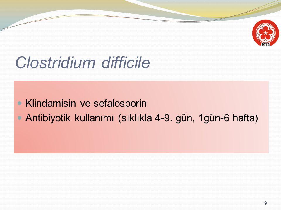9 Clostridium difficile Klindamisin ve sefalosporin Antibiyotik kullanımı (sıklıkla 4-9. gün, 1gün-6 hafta)