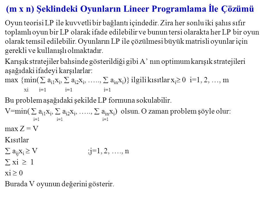 (m x n) Şeklindeki Oyunların Lineer Programlama İle Çözümü Oyun teorisi LP ile kuvvetli bir bağlantı içindedir. Zira her sonlu iki şahıs sıfır toplaml
