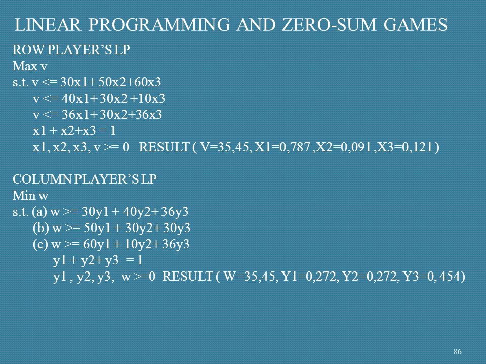 LINEAR PROGRAMMING AND ZERO-SUM GAMES ROW PLAYER'S LP Max v s.t. v <= 30x1+ 50x2+60x3 v <= 40x1+ 30x2 +10x3 v <= 36x1+ 30x2+36x3 x1 + x2+x3 = 1 x1, x2