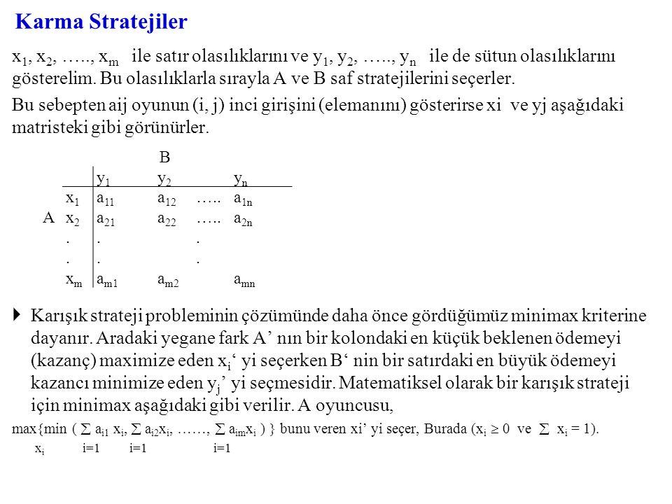 Karma Stratejiler x 1, x 2, ….., x m ile satır olasılıklarını ve y 1, y 2, ….., y n ile de sütun olasılıklarını gösterelim. Bu olasılıklarla sırayla A