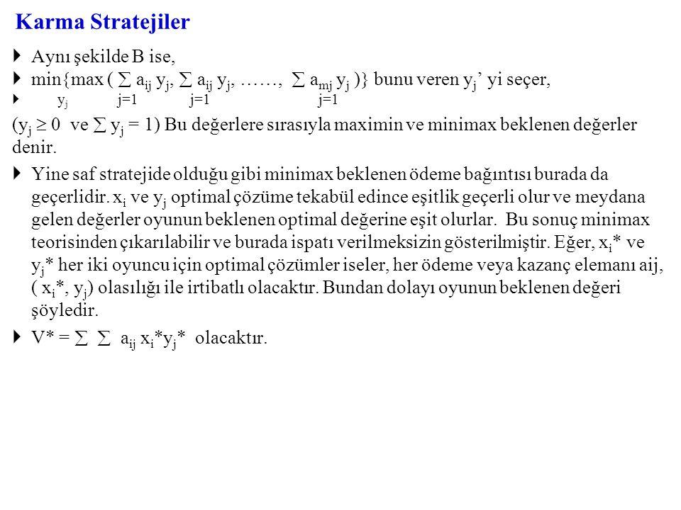 Karma Stratejiler  Aynı şekilde B ise,  min  max (  a ij y j,  a ij y j, ……,  a mj y j )  bunu veren y j ' yi seçer,  y j j=1 j=1 j=1 (y j  0 ve  y j = 1) Bu değerlere sırasıyla maximin ve minimax beklenen değerler denir.