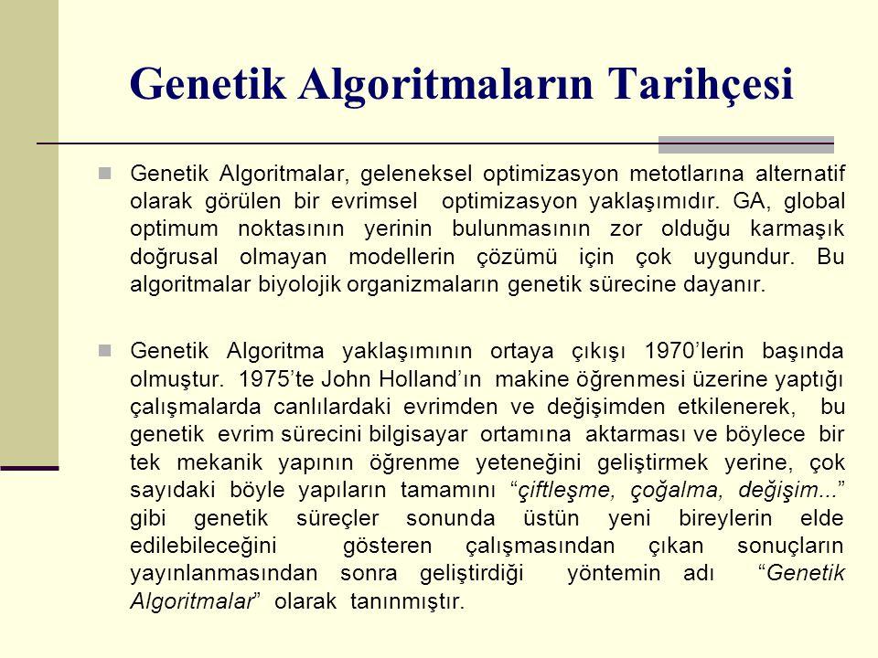 Genetik Algoritmaların Tarihçesi Genetik Algoritmalar, geleneksel optimizasyon metotlarına alternatif olarak görülen bir evrimsel optimizasyon yaklaşımıdır.