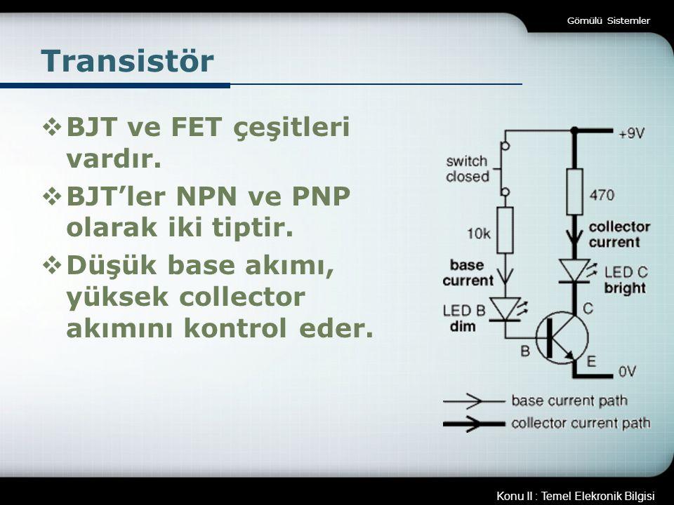Konu II : Temel Elekronik Bilgisi Gömülü Sistemler Transistör  BJT ve FET çeşitleri vardır.  BJT'ler NPN ve PNP olarak iki tiptir.  Düşük base akım