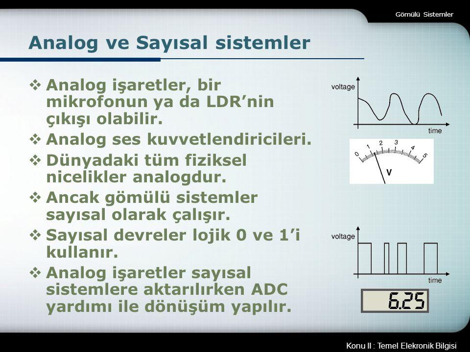 Konu II : Temel Elekronik Bilgisi Gömülü Sistemler Analog ve Sayısal sistemler  Analog işaretler, bir mikrofonun ya da LDR'nin çıkışı olabilir.  Ana