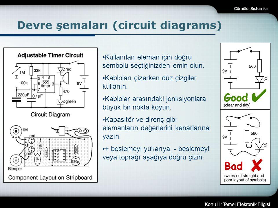 Konu II : Temel Elekronik Bilgisi Gömülü Sistemler Devre şemaları (circuit diagrams) Kullanılan eleman için doğru sembolü seçtiğinizden emin olun. Kab