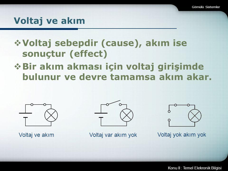 Konu II : Temel Elekronik Bilgisi Gömülü Sistemler Voltaj ve akım  Voltaj sebepdir (cause), akım ise sonuçtur (effect)  Bir akım akması için voltaj