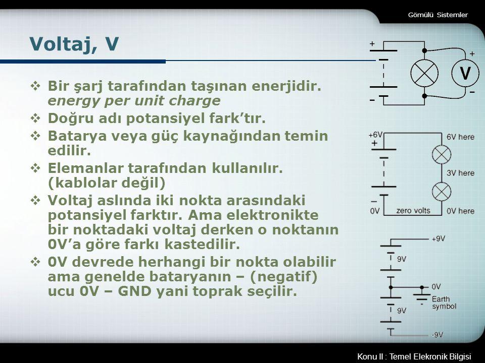 Konu II : Temel Elekronik Bilgisi Gömülü Sistemler Voltaj, V  Bir şarj tarafından taşınan enerjidir. energy per unit charge  Doğru adı potansiyel fa