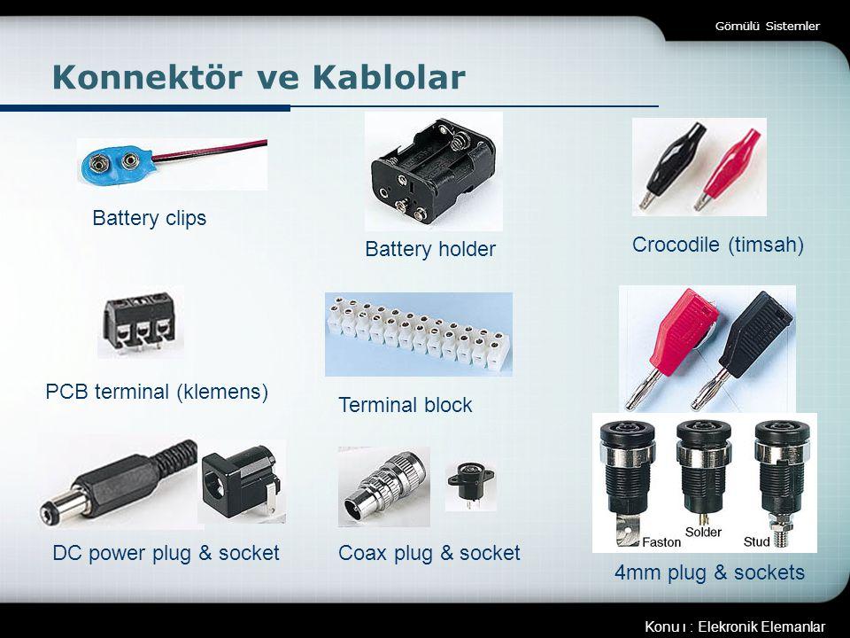 Konu ı : Elekronik Elemanlar Gömülü Sistemler Konnektör ve Kablolar - II Jack plug & sockets Phono plug & sockets BNC plug & socket DIN plug & sockets