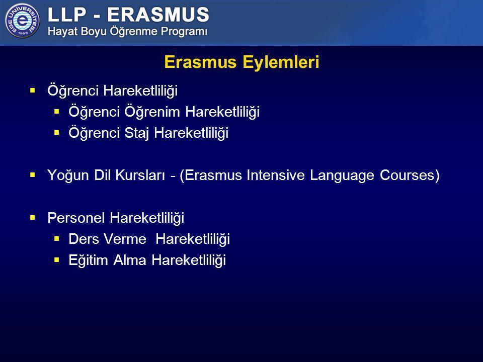 Erasmus Eylemleri  Öğrenci Hareketliliği  Öğrenci Öğrenim Hareketliliği  Öğrenci Staj Hareketliliği  Yoğun Dil Kursları - (Erasmus Intensive Langu