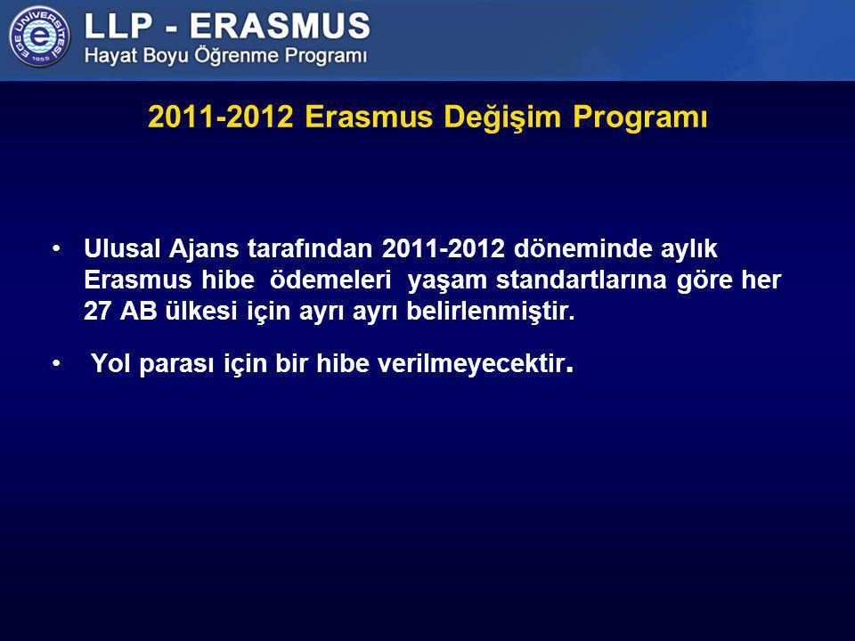 2011-2012 Erasmus Değişim Programı Ulusal Ajans tarafından 2011-2012 döneminde aylık Erasmus hibe ödemeleri yaşam standartlarına göre her 27 AB ülkesi