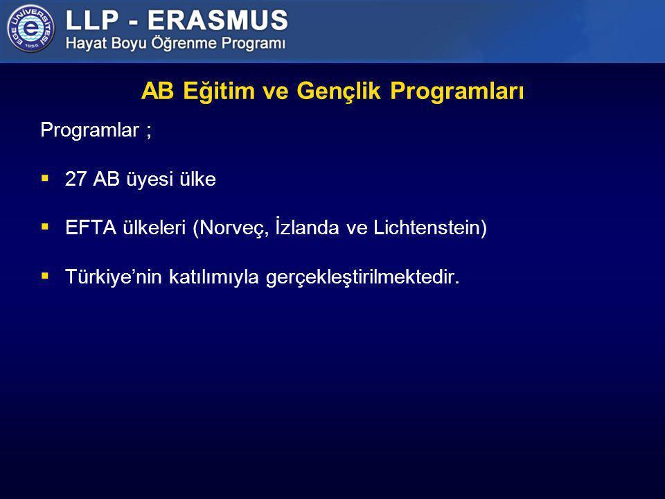 AB Eğitim ve Gençlik Programları Programlar ;  27 AB üyesi ülke  EFTA ülkeleri (Norveç, İzlanda ve Lichtenstein)  Türkiye'nin katılımıyla gerçekleş