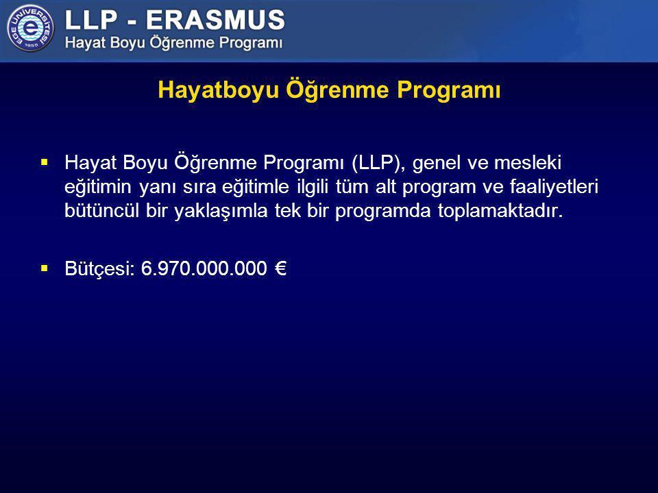 Hayatboyu Öğrenme Programı Alt Programları  Comenius (Üniversite öncesi okul eğitimi)  Erasmus (Yükseköğretim)  Leonardo Da Vinci Programı (Mesleki Eğitim)  Grundtvig (Yetişkin öğretimi)