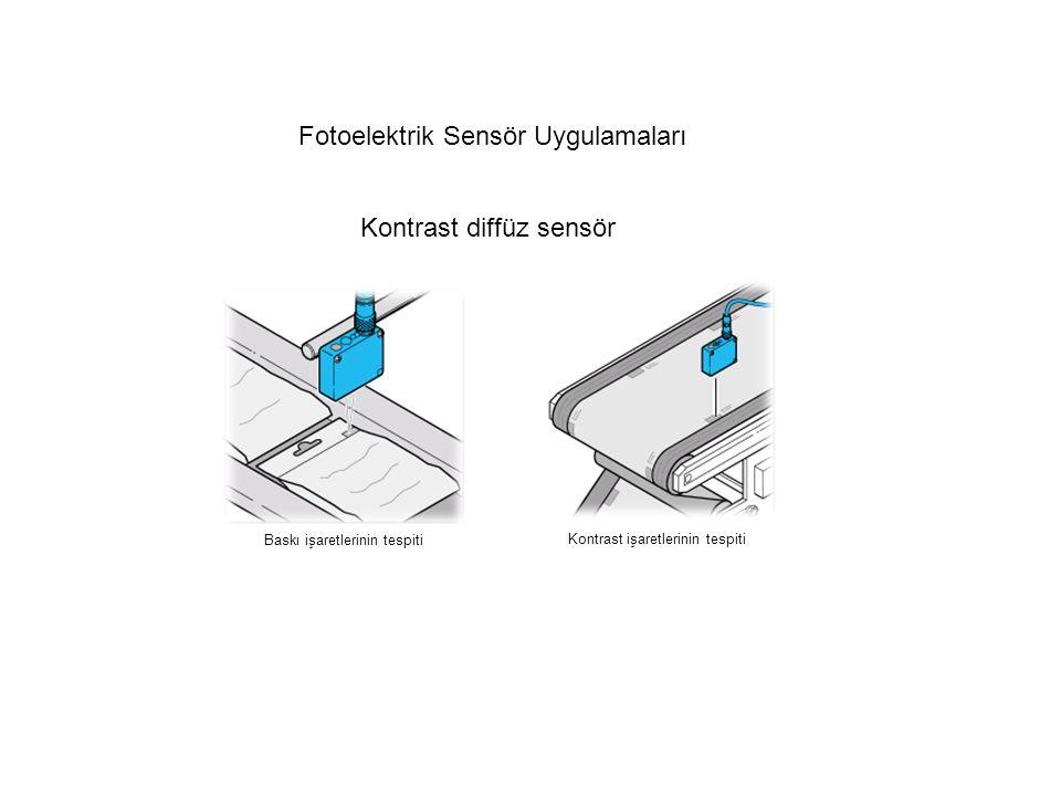 Fotoelektrik Sensör Uygulamaları Baskı işaretlerinin tespiti Kontrast işaretlerinin tespiti Kontrast diffüz sensör