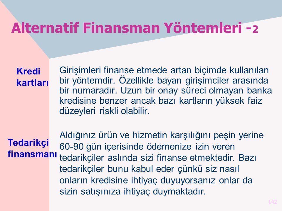 142 Alternatif Finansman Yöntemleri - 2 Girişimleri finanse etmede artan biçimde kullanılan bir yöntemdir. Özellikle bayan girişimciler arasında bir n