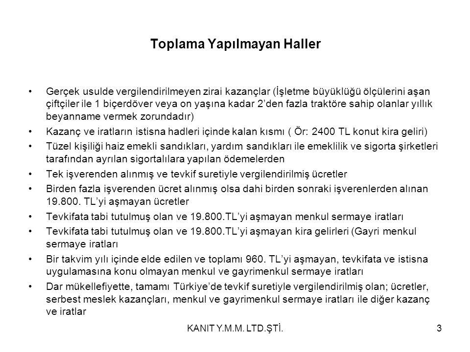 (A) Ltd.Şti.'nden Kar Payı (Net) 25.000,00 TL (B) A.Ş.'nden Kar Payı (Net) 45.000,00 TL 70.000,00 TL Net Kar Payı 70.000,00 TL İlave Tutar (1/9) (Vergi Alacağı) 12.352,94 TL 82.352,94 TL İstisna Kısım (1/2) (Geçici Md:62/3) 41.176,47 TL Vergiye Tabi Kısım (Matrah) 41.176,47 TL Hesaplanan Vergi 9.341,64 TL Mahsup Edilecek Vergi (Vergi Alacağı) 12.352,94 TL İade Edilecek Vergi 3.011,29 TL 34KANIT Y.M.M.