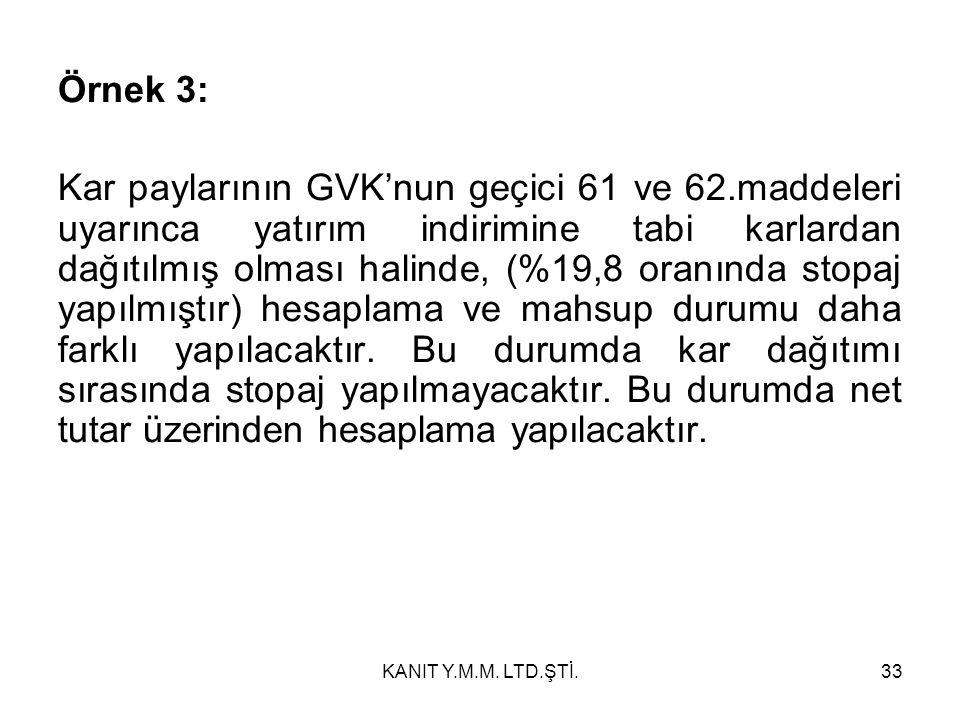 Örnek 3: Kar paylarının GVK'nun geçici 61 ve 62.maddeleri uyarınca yatırım indirimine tabi karlardan dağıtılmış olması halinde, (%19,8 oranında stopaj yapılmıştır) hesaplama ve mahsup durumu daha farklı yapılacaktır.