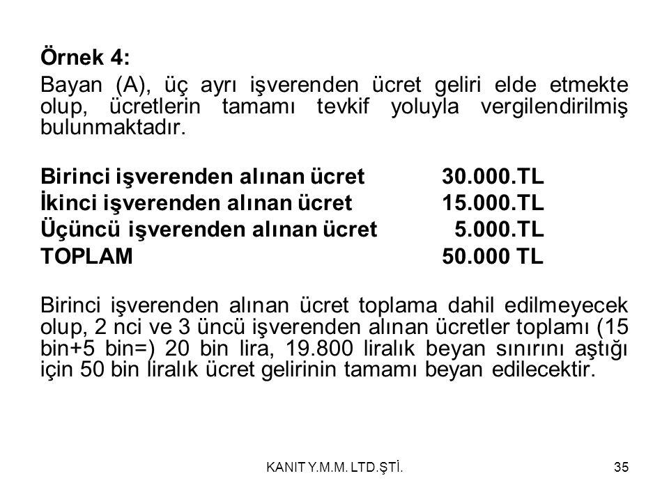 Örnek 4: Bayan (A), üç ayrı işverenden ücret geliri elde etmekte olup, ücretlerin tamamı tevkif yoluyla vergilendirilmiş bulunmaktadır.