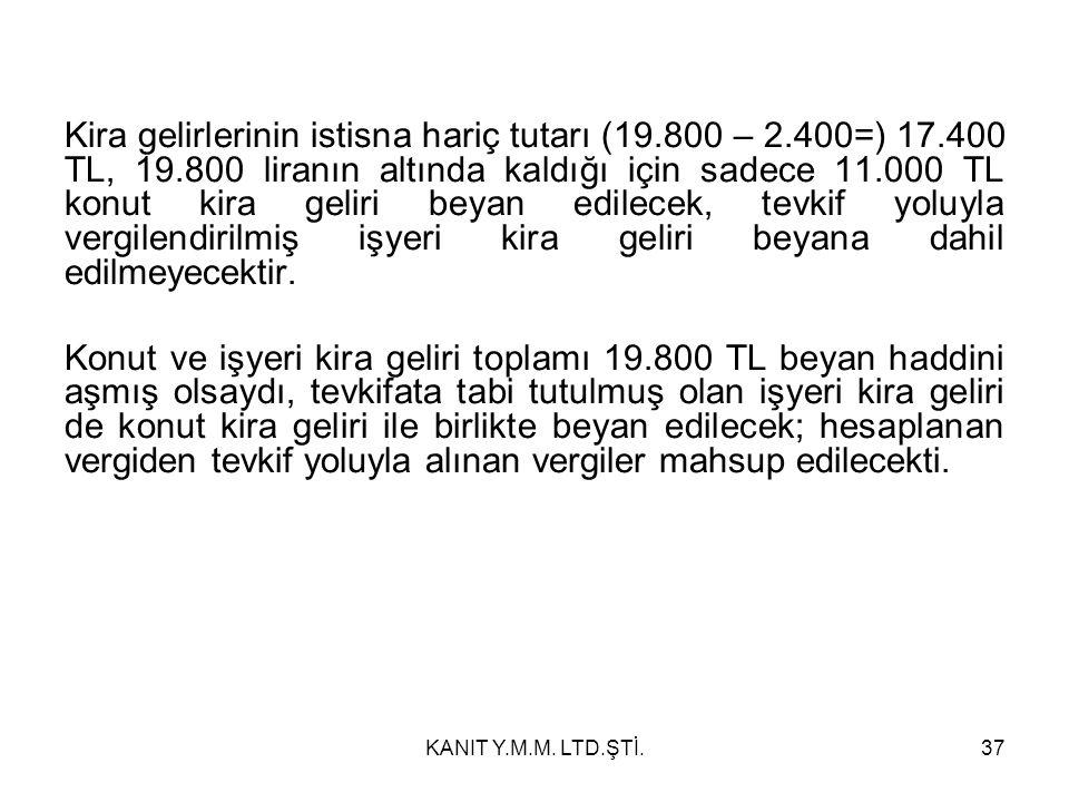 Kira gelirlerinin istisna hariç tutarı (19.800 – 2.400=) 17.400 TL, 19.800 liranın altında kaldığı için sadece 11.000 TL konut kira geliri beyan edilecek, tevkif yoluyla vergilendirilmiş işyeri kira geliri beyana dahil edilmeyecektir.