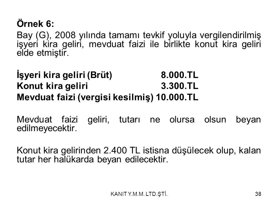 Örnek 6: Bay (G), 2008 yılında tamamı tevkif yoluyla vergilendirilmiş işyeri kira geliri, mevduat faizi ile birlikte konut kira geliri elde etmiştir.