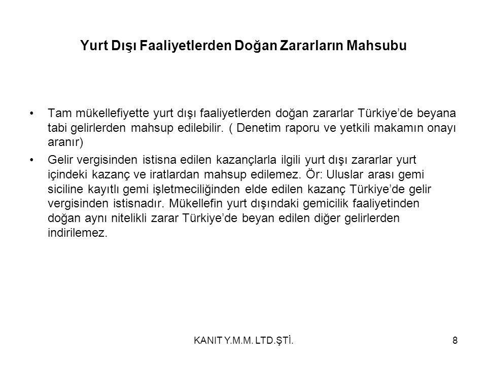 Yurt Dışı Faaliyetlerden Doğan Zararların Mahsubu Tam mükellefiyette yurt dışı faaliyetlerden doğan zararlar Türkiye'de beyana tabi gelirlerden mahsup edilebilir.