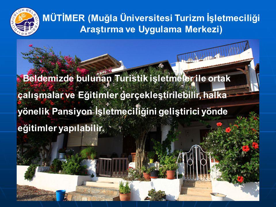MÜTİMER (Muğla Üniversitesi Turizm İşletmeciliği Araştırma ve Uygulama Merkezi) Beldemizde bulunan Turistik işletmeler ile ortak çalışmalar ve Eğitimler gerçekleştirilebilir, halka yönelik Pansiyon İşletmeciliğini geliştirici yönde eğitimler yapılabilir.