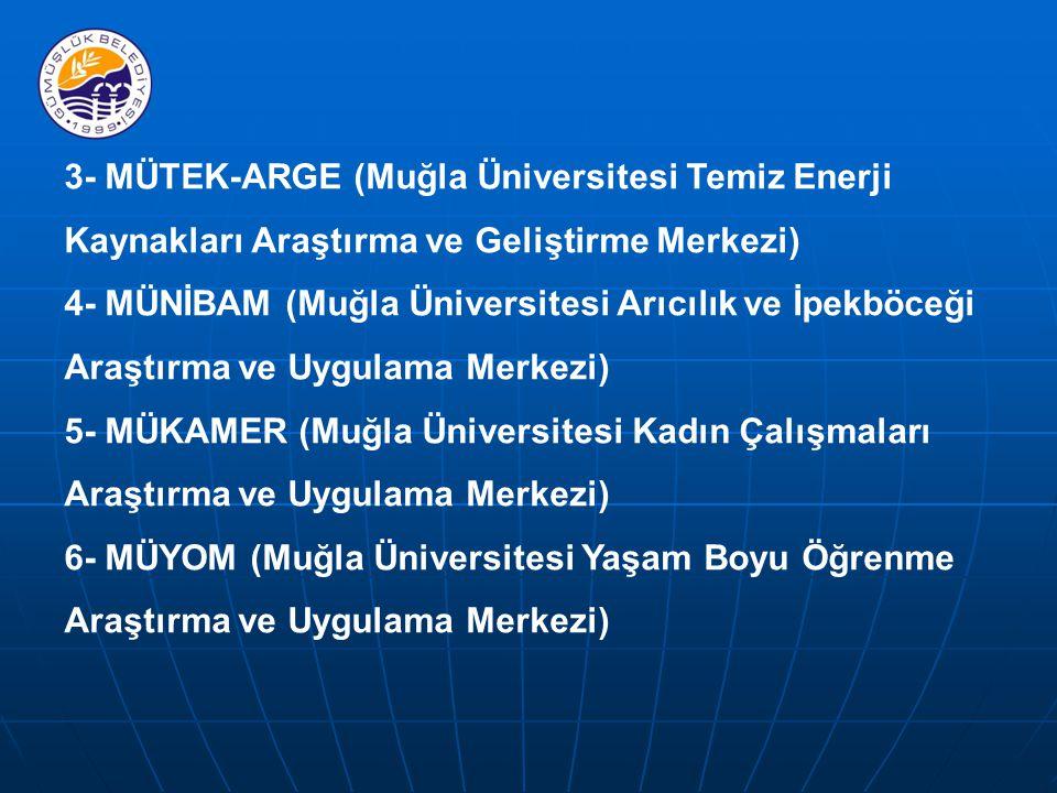 3- MÜTEK-ARGE (Muğla Üniversitesi Temiz Enerji Kaynakları Araştırma ve Geliştirme Merkezi) 4- MÜNİBAM (Muğla Üniversitesi Arıcılık ve İpekböceği Araştırma ve Uygulama Merkezi) 5- MÜKAMER (Muğla Üniversitesi Kadın Çalışmaları Araştırma ve Uygulama Merkezi) 6- MÜYOM (Muğla Üniversitesi Yaşam Boyu Öğrenme Araştırma ve Uygulama Merkezi)