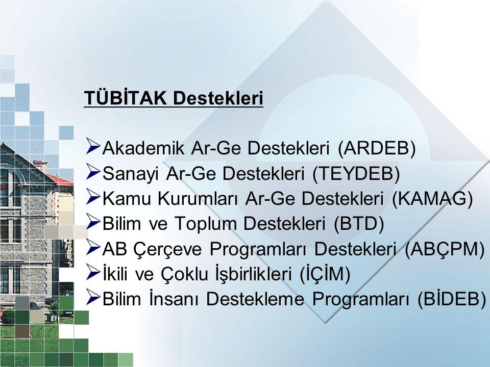 TÜBİTAK Destekleri  Akademik Ar-Ge Destekleri (ARDEB)  Sanayi Ar-Ge Destekleri (TEYDEB)  Kamu Kurumları Ar-Ge Destekleri (KAMAG)  Bilim ve Toplum