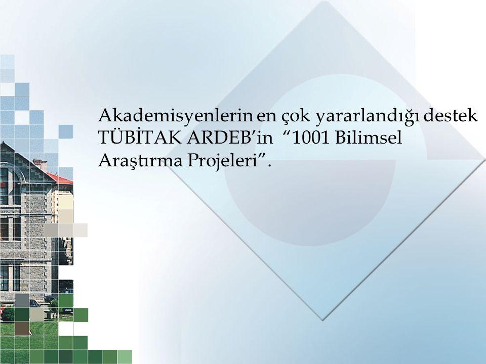 """Akademisyenlerin en çok yararlandığı destek TÜBİTAK ARDEB'in """"1001 Bilimsel Araştırma Projeleri""""."""