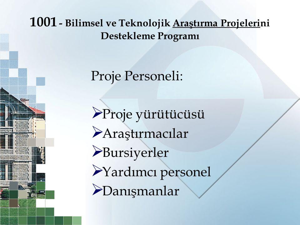 1001 - Bilimsel ve Teknolojik Araştırma Projelerini Destekleme Programı Proje Personeli:  Proje yürütücüsü  Araştırmacılar  Bursiyerler  Yardımcı