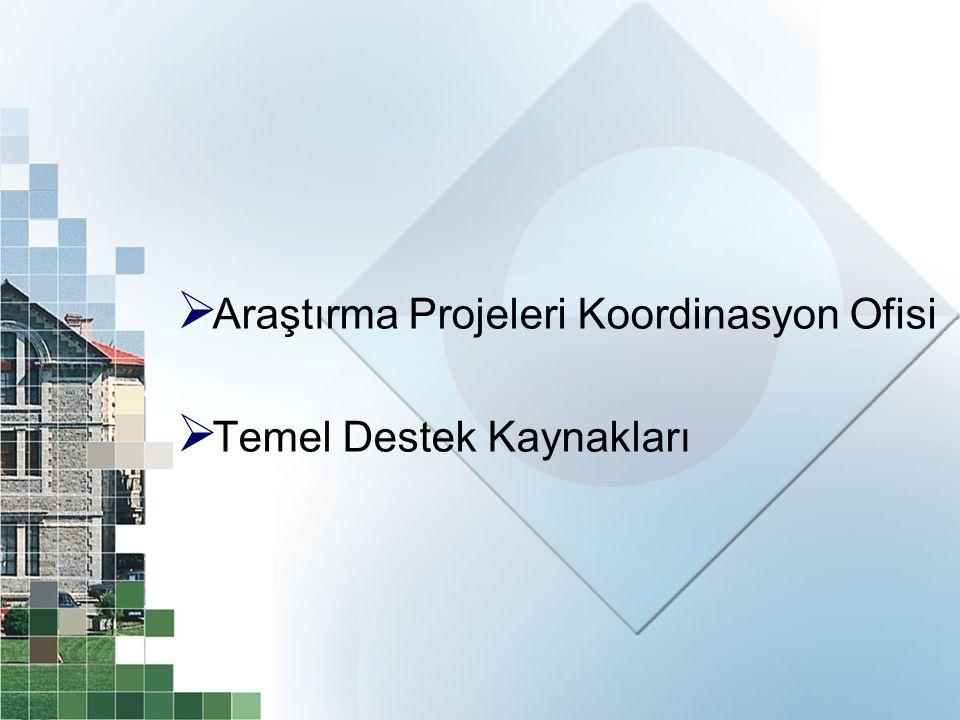  Araştırma Projeleri Koordinasyon Ofisi  Temel Destek Kaynakları