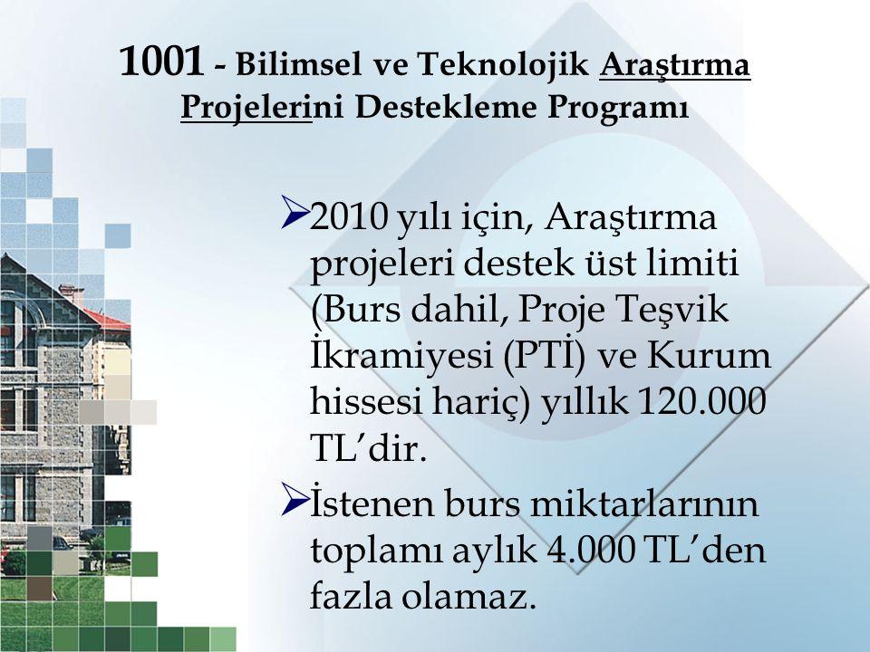 1001 - Bilimsel ve Teknolojik Araştırma Projelerini Destekleme Programı  2010 yılı için, Araştırma projeleri destek üst limiti (Burs dahil, Proje Teş