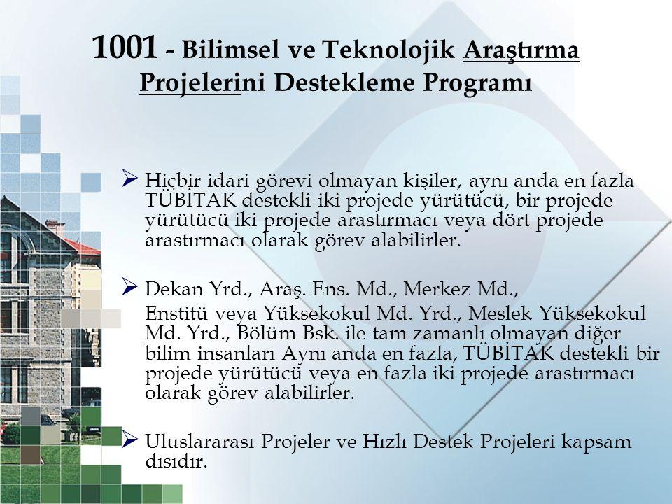 1001 - Bilimsel ve Teknolojik Araştırma Projelerini Destekleme Programı  Hiçbir idari görevi olmayan kişiler, aynı anda en fazla TÜBİTAK destekli iki