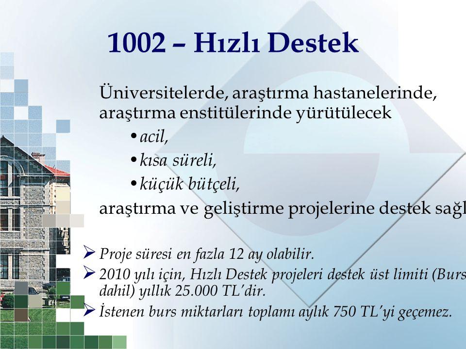 1002 – Hızlı Destek Üniversitelerde, araştırma hastanelerinde, araştırma enstitülerinde yürütülecek acil, kısa süreli, küçük bütçeli, araştırma ve gel