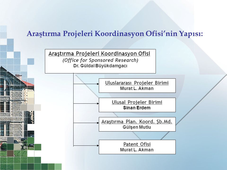 Araştırma Projeleri Koordinasyon Ofisi (Office for Sponsored Research) Dr.