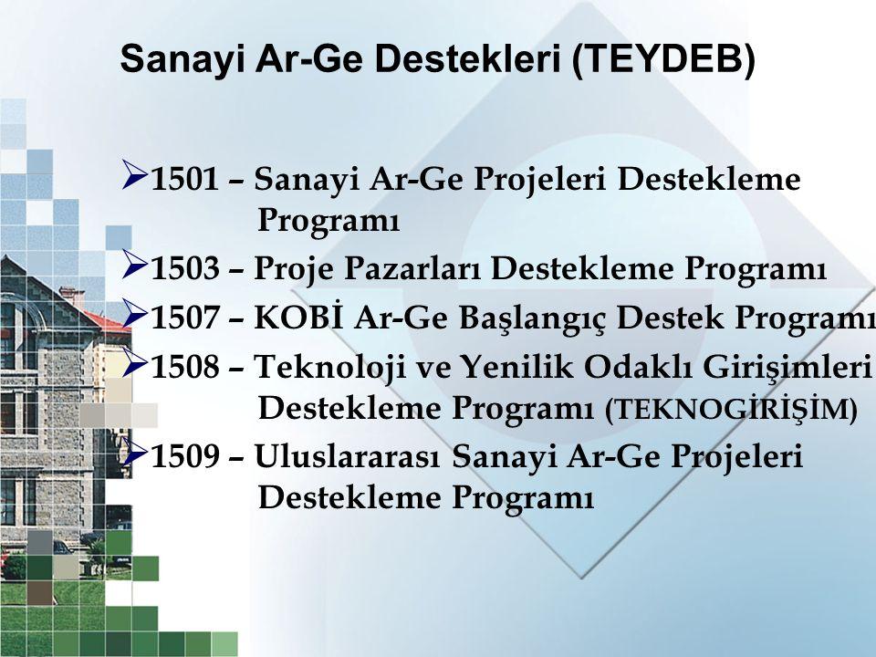 Sanayi Ar-Ge Destekleri (TEYDEB)  1501 – Sanayi Ar-Ge Projeleri Destekleme Programı  1503 – Proje Pazarları Destekleme Programı  1507 – KOBİ Ar-Ge
