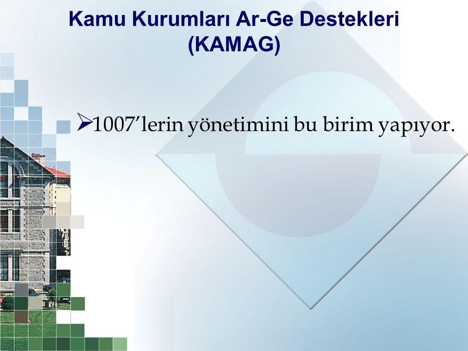 Kamu Kurumları Ar-Ge Destekleri (KAMAG)  1007'lerin yönetimini bu birim yapıyor.