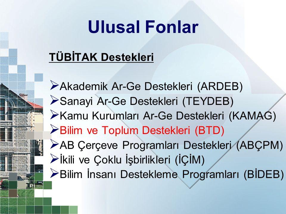 Ulusal Fonlar TÜBİTAK Destekleri  Akademik Ar-Ge Destekleri (ARDEB)  Sanayi Ar-Ge Destekleri (TEYDEB)  Kamu Kurumları Ar-Ge Destekleri (KAMAG)  Bi
