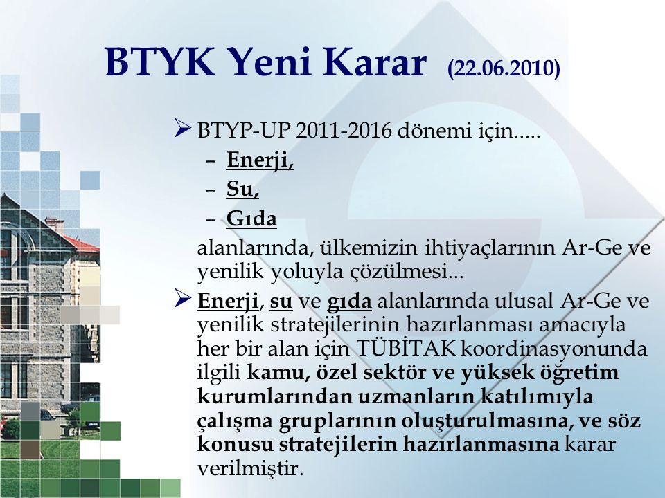 BTYK Yeni Karar (22.06.2010)  BTYP-UP 2011-2016 dönemi için..... – Enerji, – Su, – Gıda alanlarında, ülkemizin ihtiyaçlarının Ar-Ge ve yenilik yoluyl