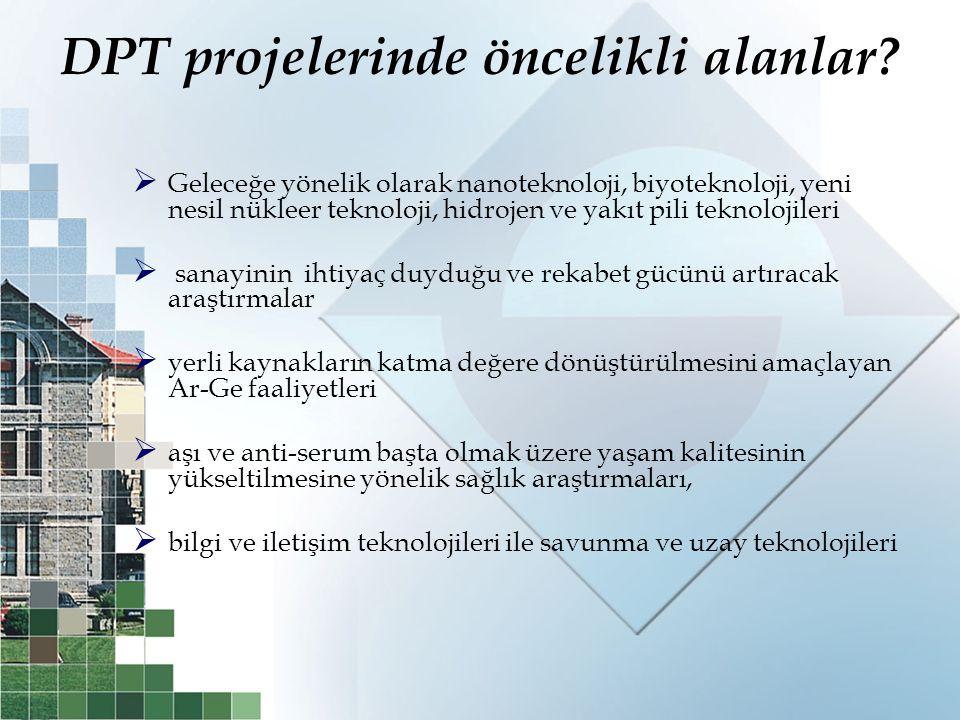 DPT projelerinde öncelikli alanlar?  Geleceğe yönelik olarak nanoteknoloji, biyoteknoloji, yeni nesil nükleer teknoloji, hidrojen ve yakıt pili tekno