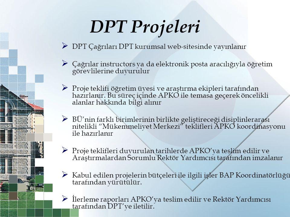 DPT Projeleri  DPT Çağrıları DPT kurumsal web-sitesinde yayınlanır  Çağrılar instructors ya da elektronik posta aracılığıyla öğretim görevlilerine d