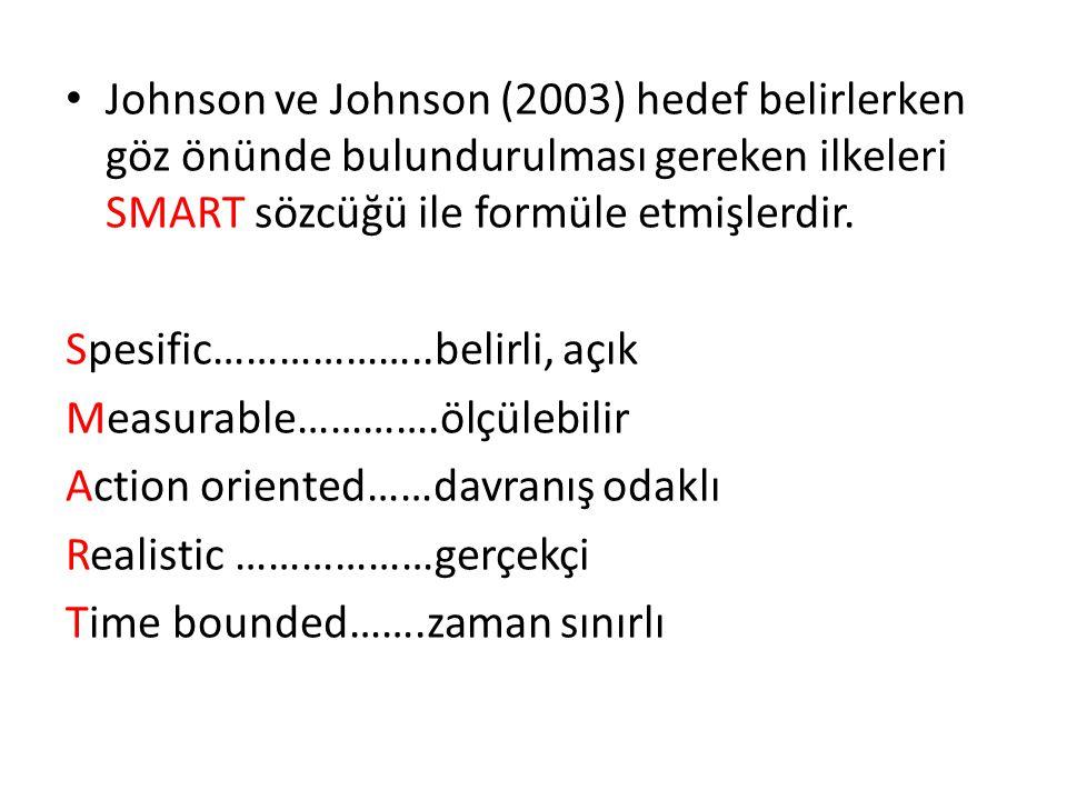Johnson ve Johnson (2003) hedef belirlerken göz önünde bulundurulması gereken ilkeleri SMART sözcüğü ile formüle etmişlerdir. Spesific………………..belirli,