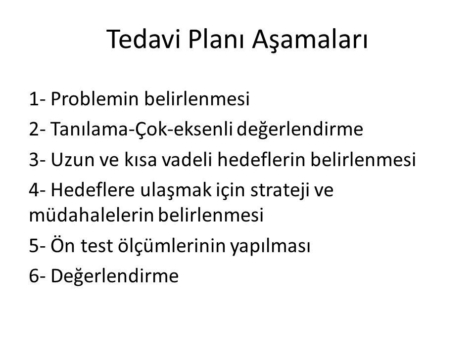 Tedavi Planı Aşamaları 1- Problemin belirlenmesi 2- Tanılama-Çok-eksenli değerlendirme 3- Uzun ve kısa vadeli hedeflerin belirlenmesi 4- Hedeflere ula