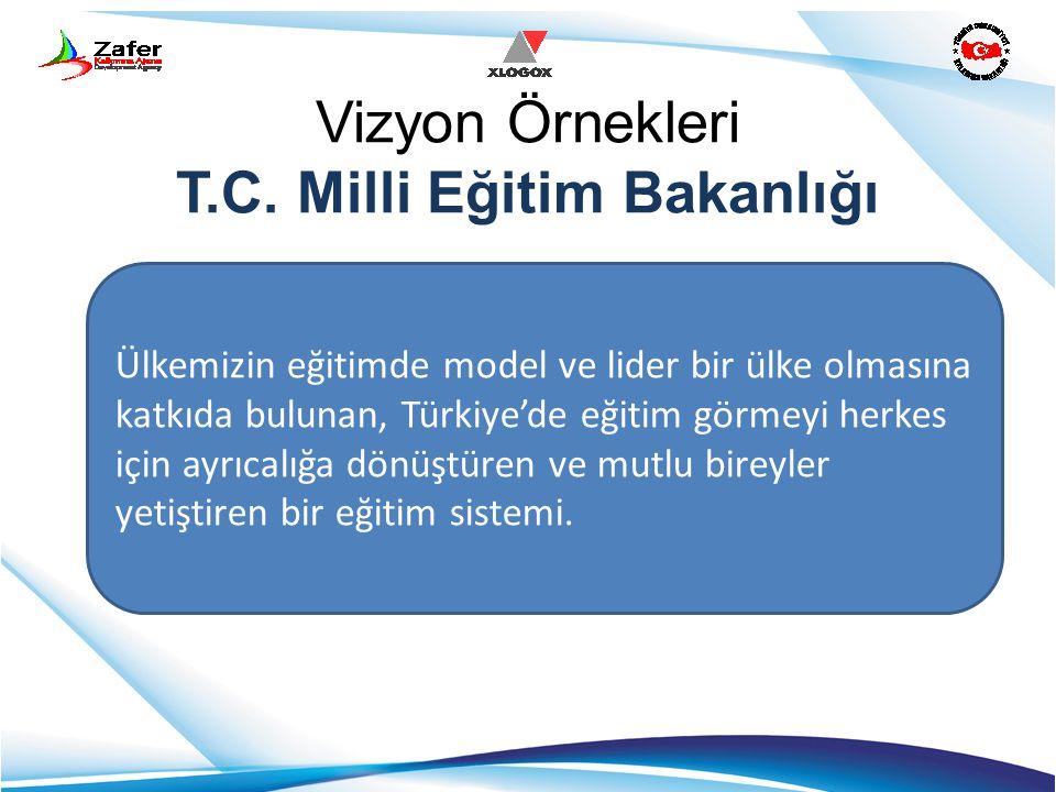 Vizyon Örnekleri T.C. Milli Eğitim Bakanlığı Ülkemizin eğitimde model ve lider bir ülke olmasına katkıda bulunan, Türkiye'de eğitim görmeyi herkes içi