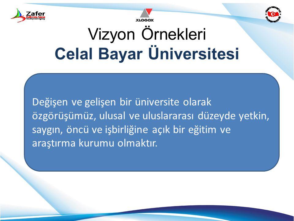 Vizyon Örnekleri Celal Bayar Üniversitesi Değişen ve gelişen bir üniversite olarak özgörüşümüz, ulusal ve uluslararası düzeyde yetkin, saygın, öncü ve
